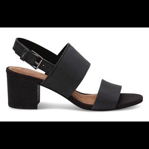 "TOMS Black Leather ""Poppy"" Sandal"